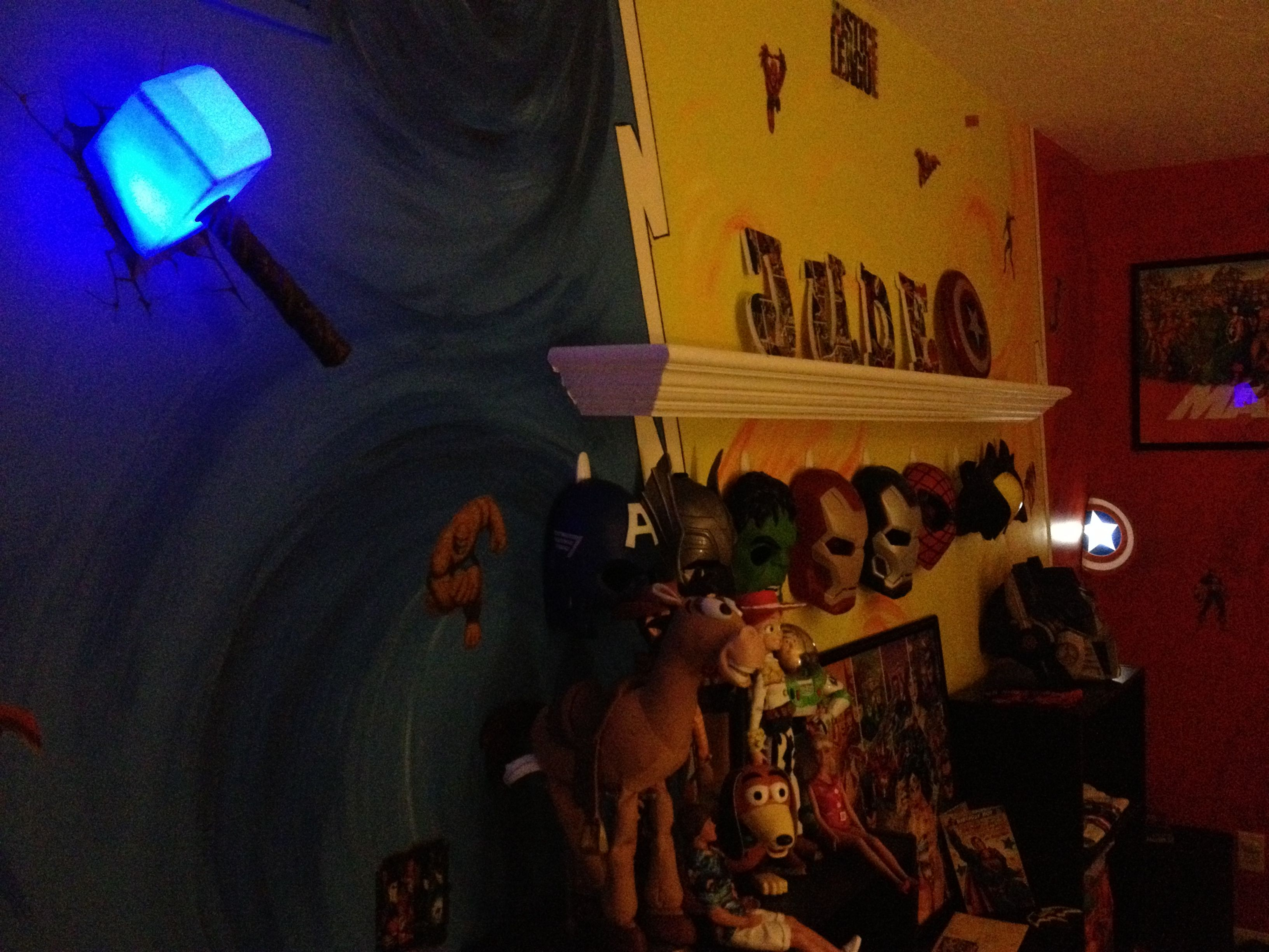 Nighttime look to the room thors hammer and captain americas thors hammer and captain americas shield are marvel 3d light aloadofball Images