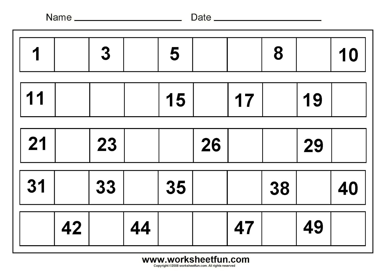 Number 1 50 Worksheet