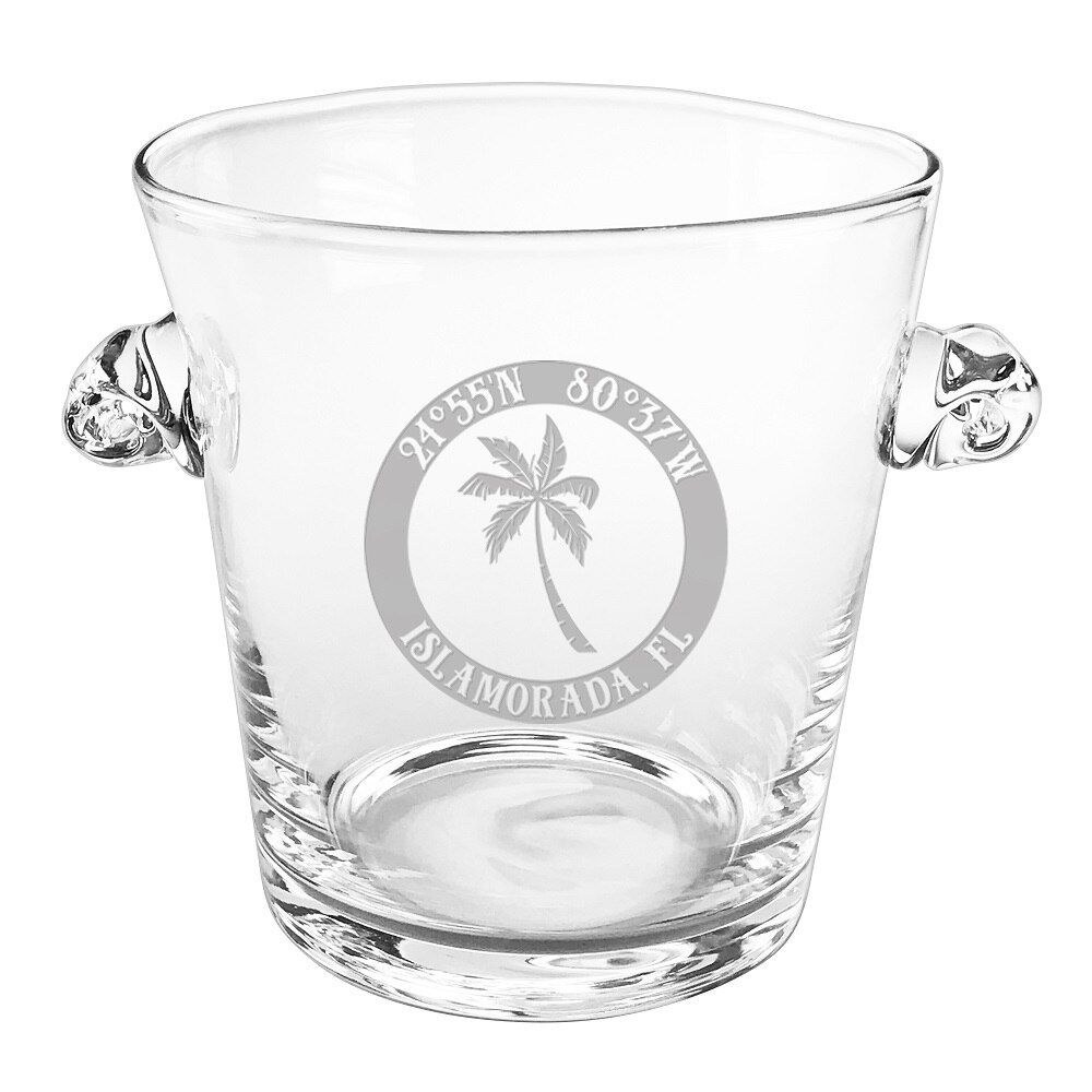 Custom Coordinates Island Palm Scroll Handle Ice Bucket
