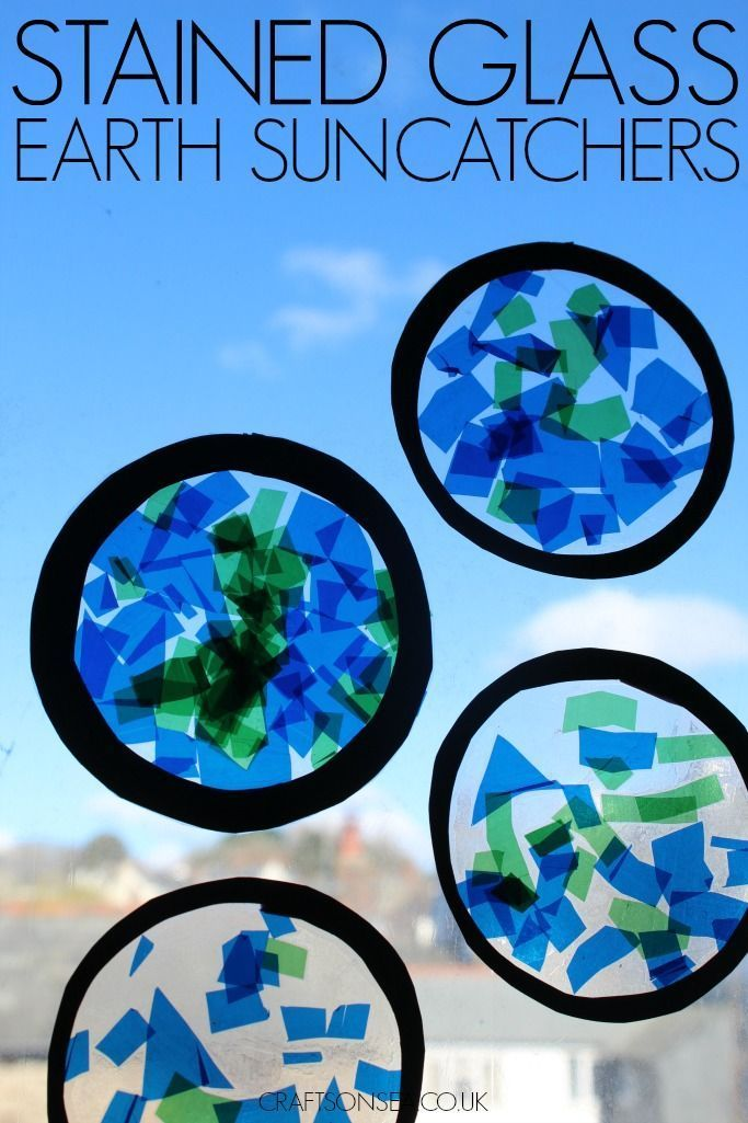 Stained Glass Earth Suncatchers Earth Day Easy Crafts For Kids