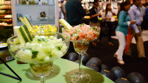 Fresh Summit 2012  Produce was truly ubiquitous at the show. Here, chopped fruits and vegetables are displayed in martini glasses.