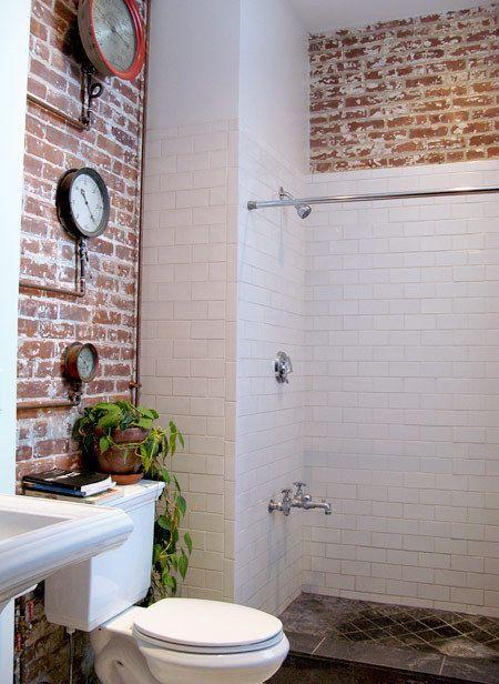 Love This Loft The Bathroom Is Perfect Brick Bathroom Brick Tiles Bathroom Basement