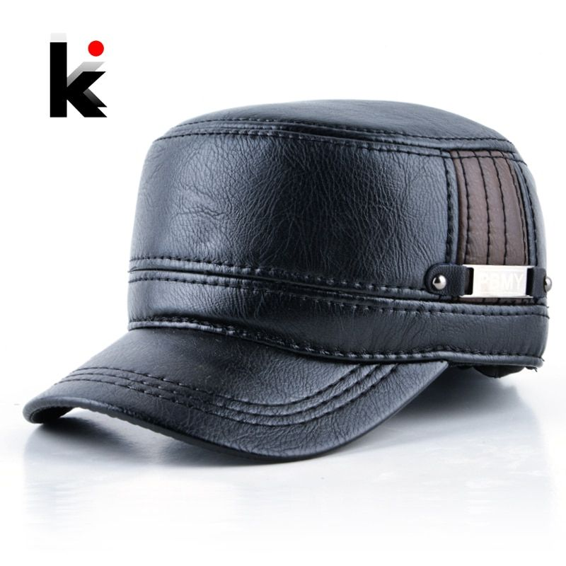 6b1391046 2018 Winter mens leather cap warm hat baseball cap with ear flaps ...