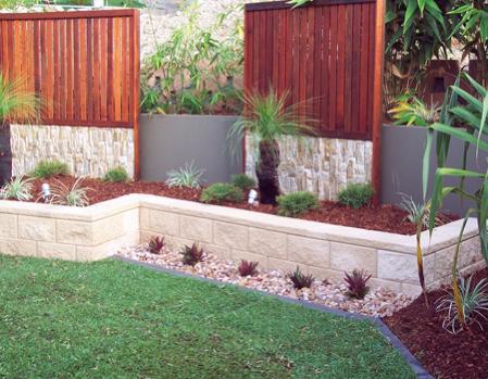 Garden Retaining Walls Sleepers Link Blocks Landscapers North Brisbane Greenscene Gardenscope Land Backyard Landscaping Backyard Landscaping Along Fence