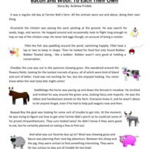 Third Grade Reading Comprehension Worksheet - Bacon and Wool: To ...