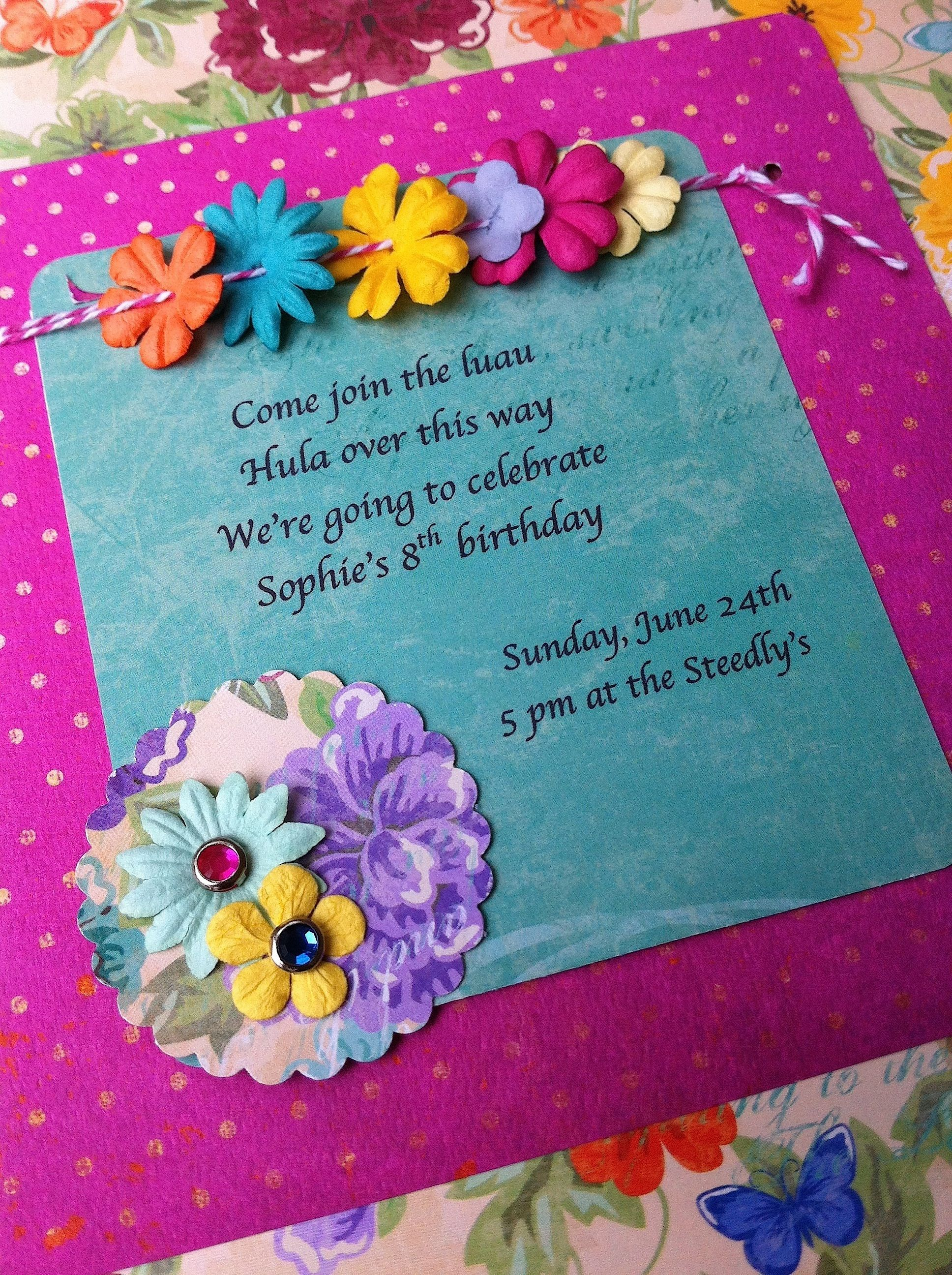 luau invitescrapbook flowers and bakers twine – Bbq Party Invitation Wording