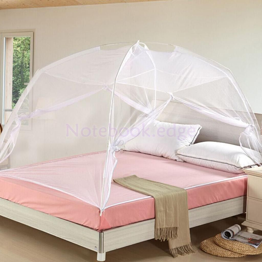 White Folding Freestand Bed Canopy Mosquito Net Bedding Tent