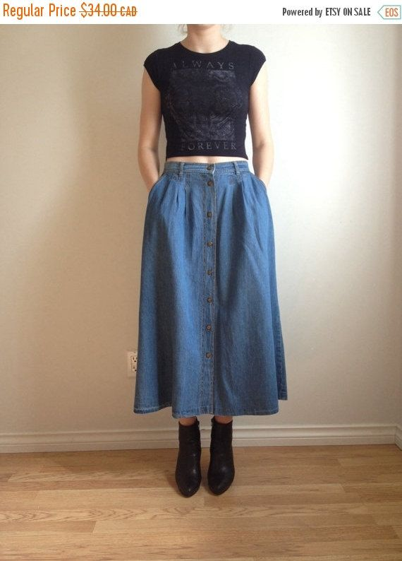 90s Jean Midi Skirt, Button Down Jean Skirt, Skirt with Pockets ...