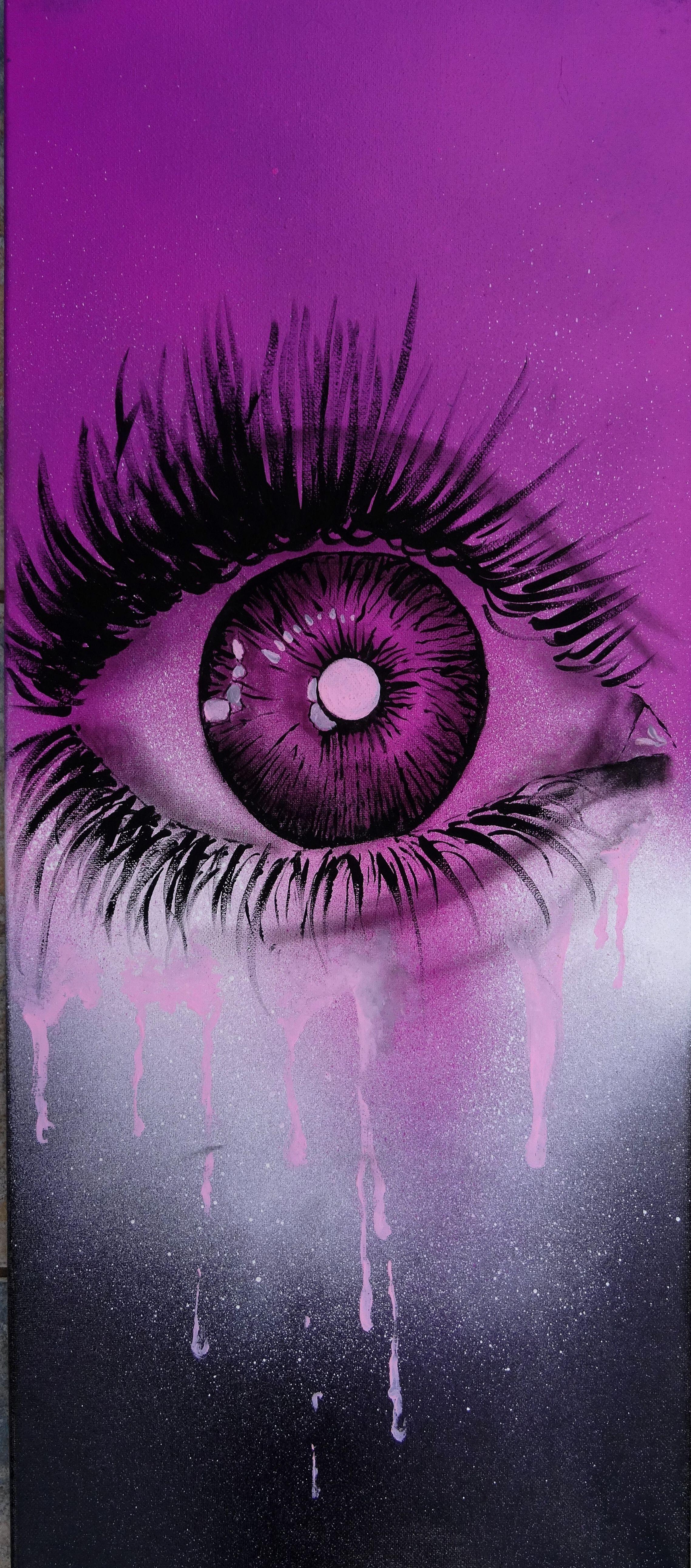 """"""" Voir la vie en rose """" Bombe à peinture + acrylique"""