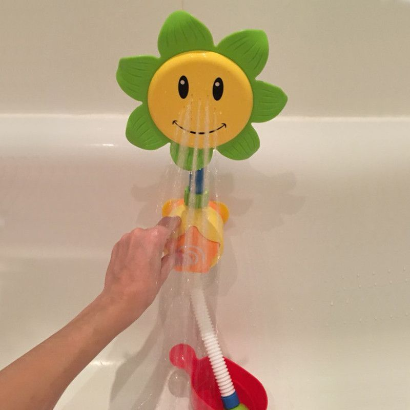 Baby Bath Toy Childrens Sunflower Shower Faucet Bath Toy ...