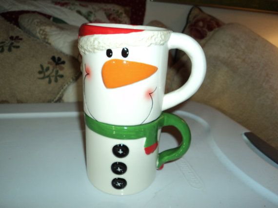 Set of mugs that resemble a cutey snowman by WhiskeysWhims on Etsy, $7.00