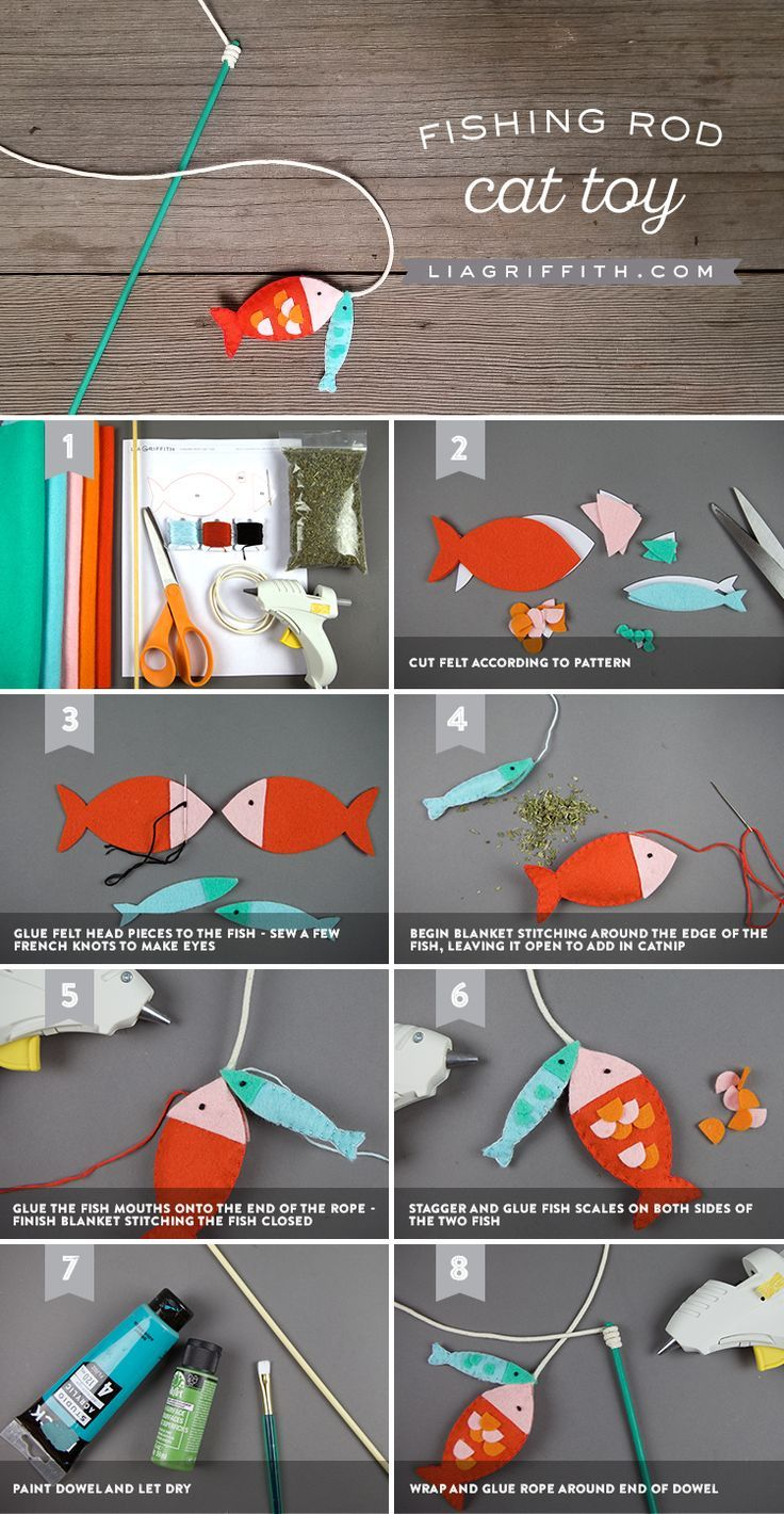 Make A Diy Fishing Pole Cat Toy In 8 Easy Steps Homemade Cat Toys Diy Pet Toys Diy Stuffed Animals