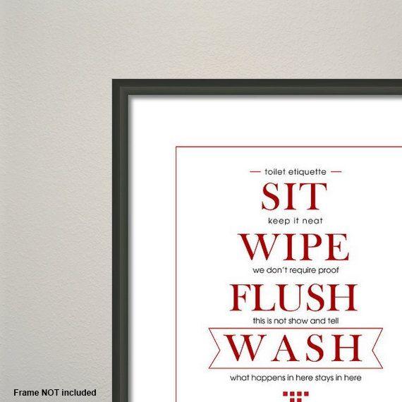 Items similar to Toilet Etiquette Art Print - Funny Housewarming Gift -  Typographical Art - Affordable Art -Red - Blue - Green - Orange - Restroom  Etiquette ...