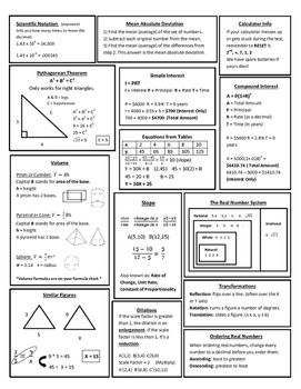 8th Grade Math STAAR Review Study Sheet | | Math • Middle