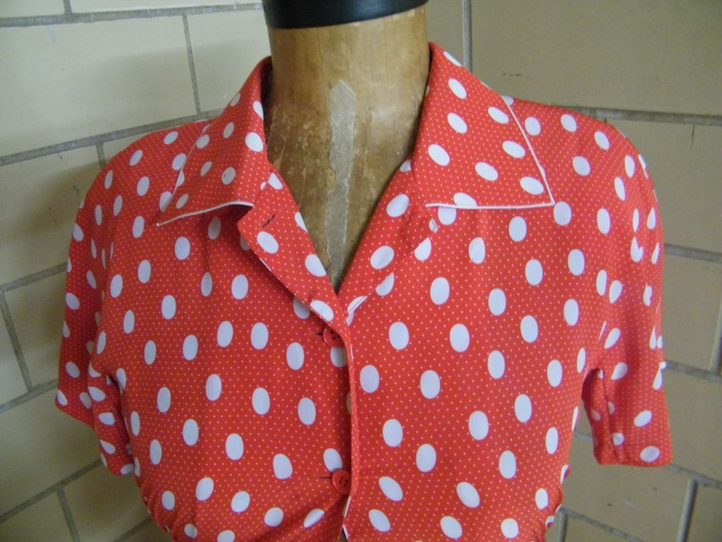 Red Dress With White Polka Dots By Louis Feraud..Razook's..Hong from lisasvintagetreasures on Ruby Lane