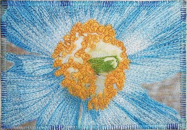 Blue Poppy - Thread-Painted Fabric Postcard - 6 x 4 £13.99