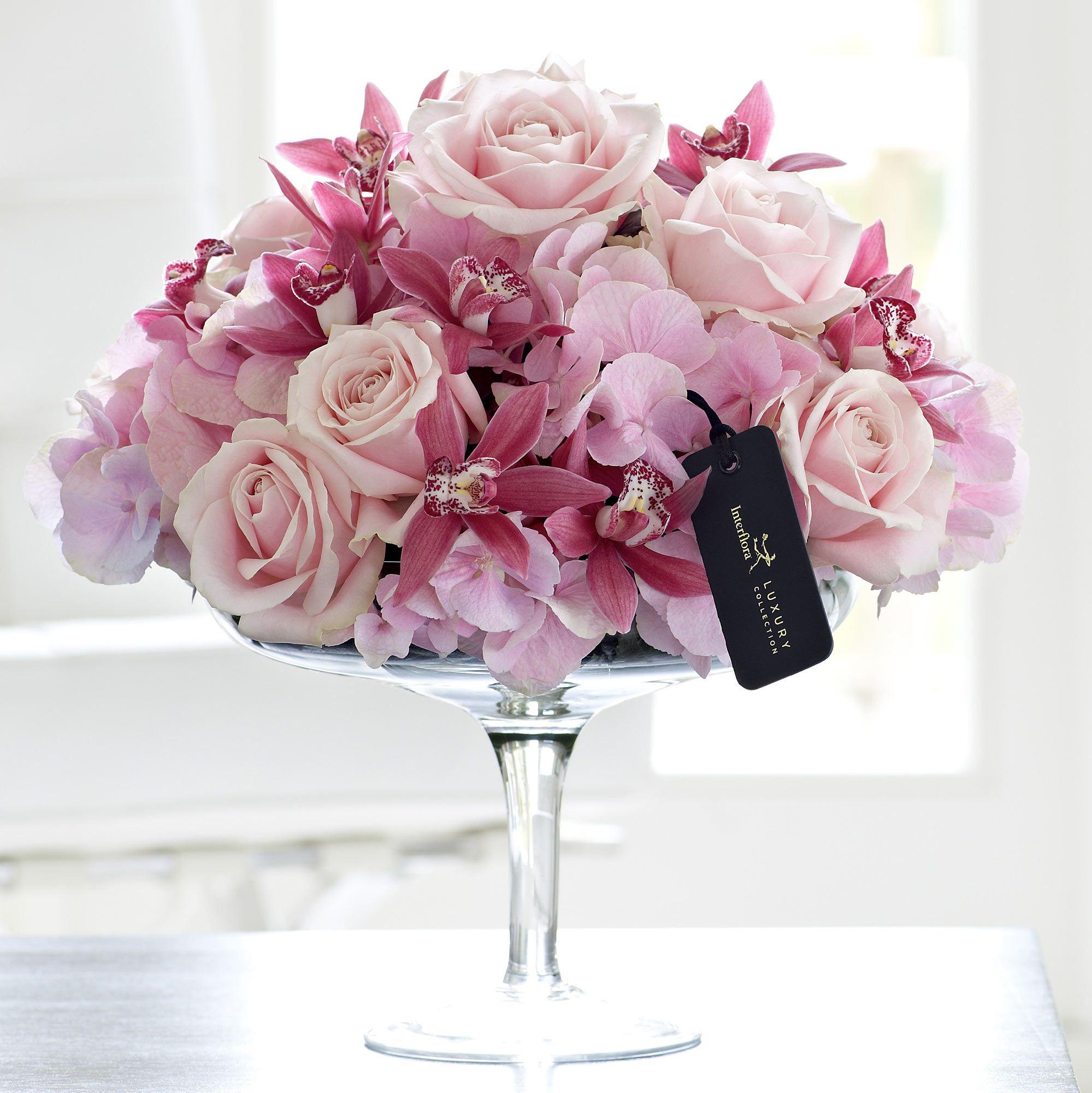 Luxury Rose, Hydrangea And Mini Cymbidium Orchid Arrangement  Pinks