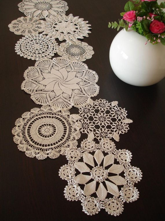 Vintage Doily Runner Wedding Table Decoration With Handcrocheted Vintage Doilies Eco Wedding Table Settings MADE to ORDER #dollies