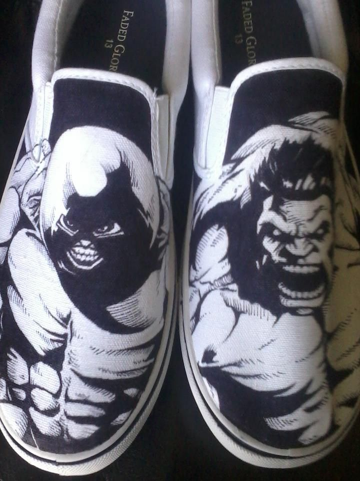 Hand drawn, one of a kind Juggernaut and Hulk shoes. If you