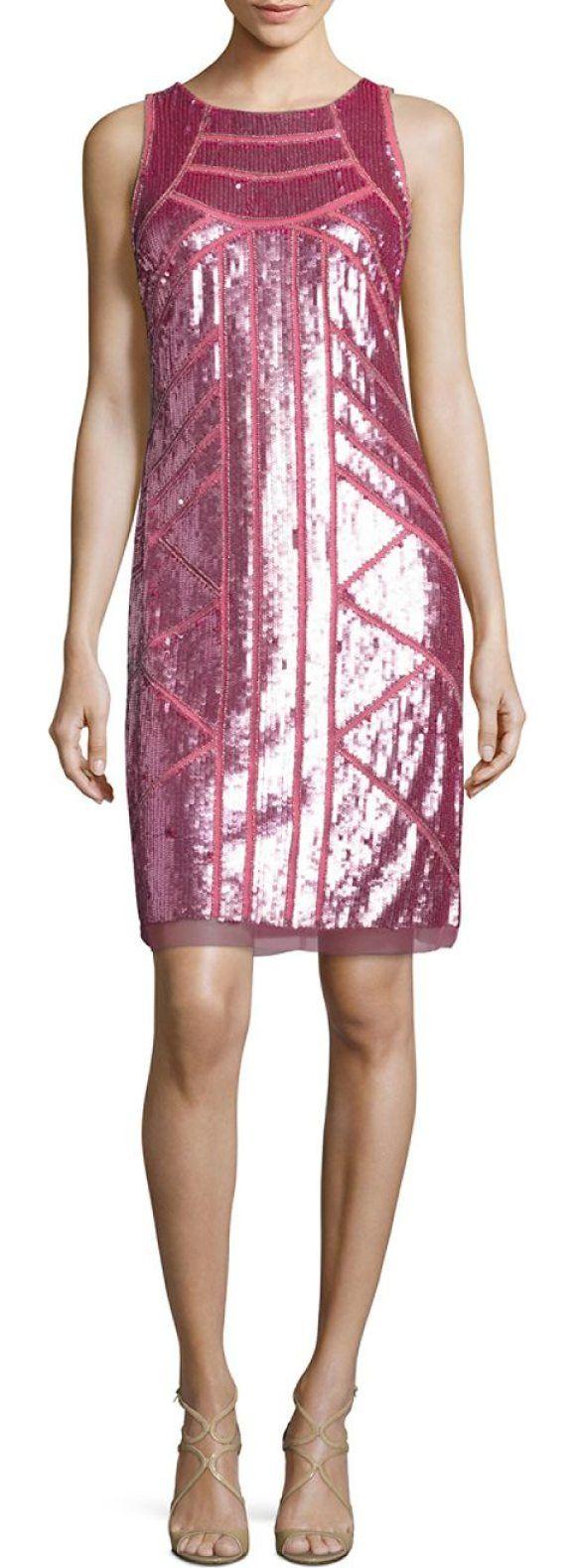 AIDAN MATTOX Sequined Shift Dress | Vestiditos