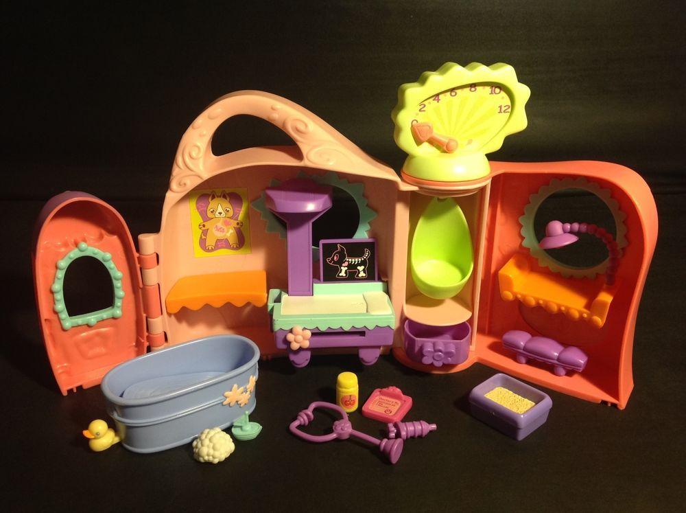 Littlest Pet Shop ORANGE Playset Get Better Center Vet Hospital w/1 FREE PET #Hasbro