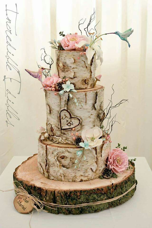Gorgeous Wedding Cake With Initials Carved In The Wood Country Wedding Cakes Themed Wedding Cakes Wedding Cake Rustic