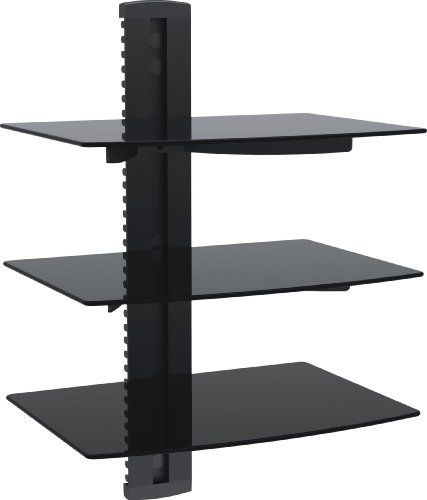 Vonhaus By Designer Habitat 3x Black Floating Shelves With Strengthened Tempered Glass For Dvd Players Cable Boxes Games Co Accesorios Para Casa Muebles Madera