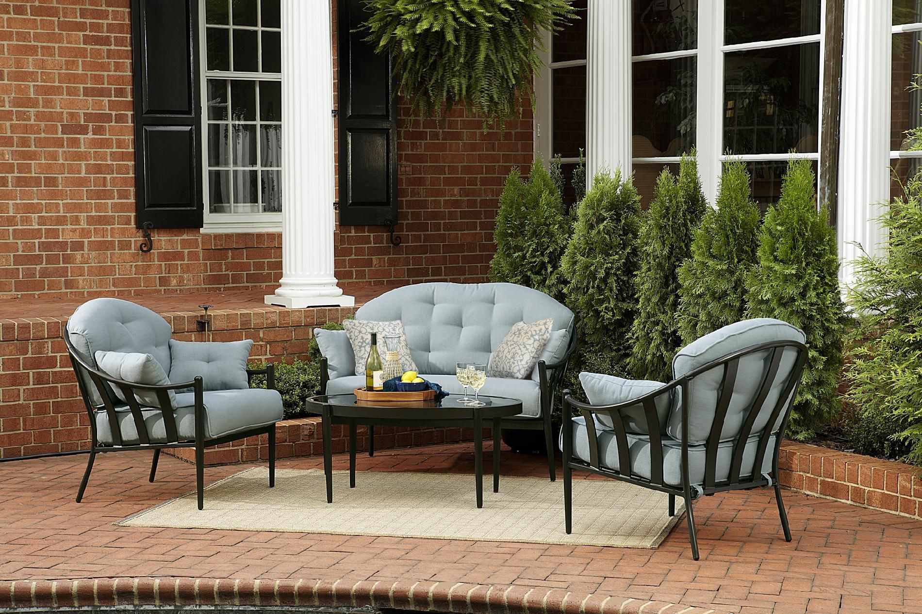 Jaclyn Smith Today Chandler 4 Piece Seating Set + Toss