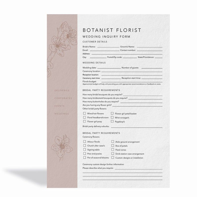 Florist Wedding Booking Form Florist Order Forms Wedding Order Forms Florist Templates Inquiry Form Photography Invoice Template Invoice Design Wedding Order