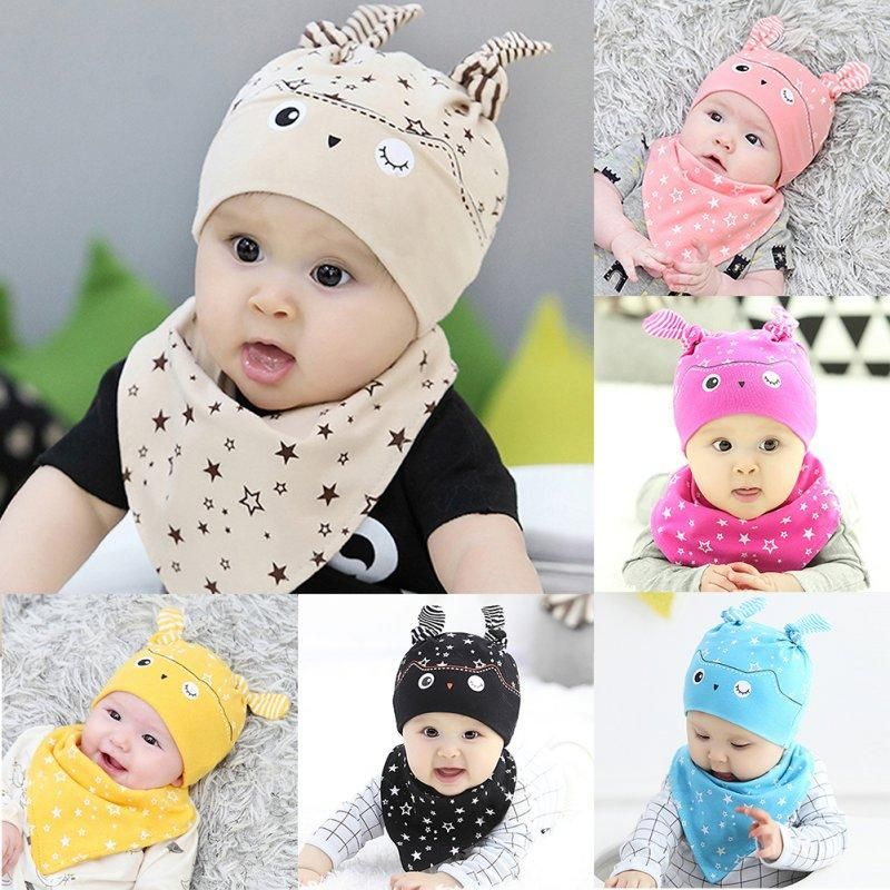 19ae2d5df787 Cute Toddler Boys   Girls Sleep Hat Cap and Triangle Scarf