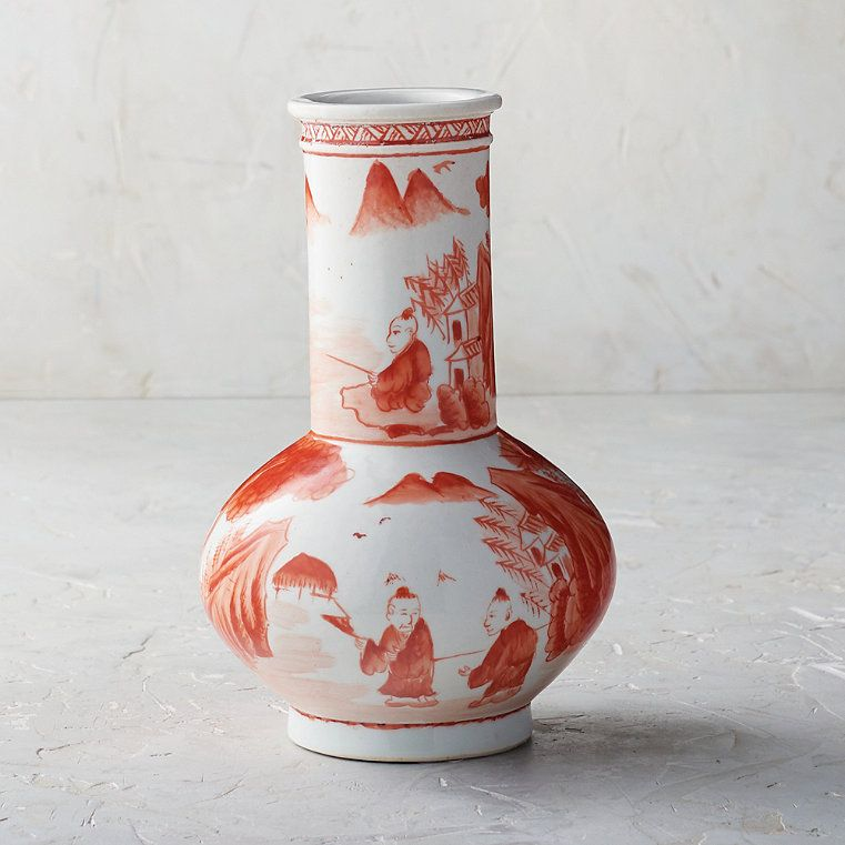 Coral Ming Small Single Gourd Frontgate Frontgate Hand Painted Ceramics Small Vase