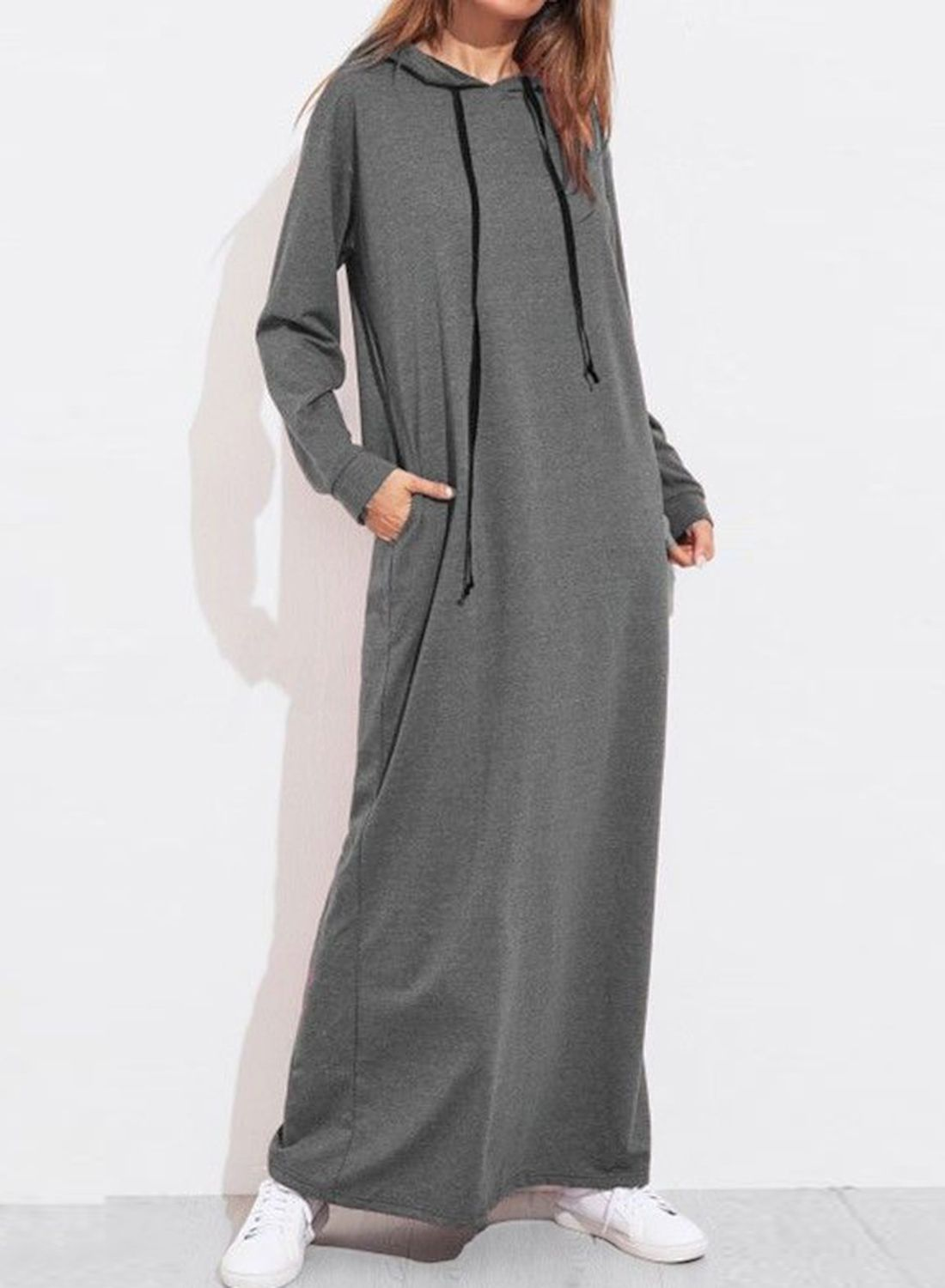 Casual long sleeve loose solid color loose hoodie dress with pockets
