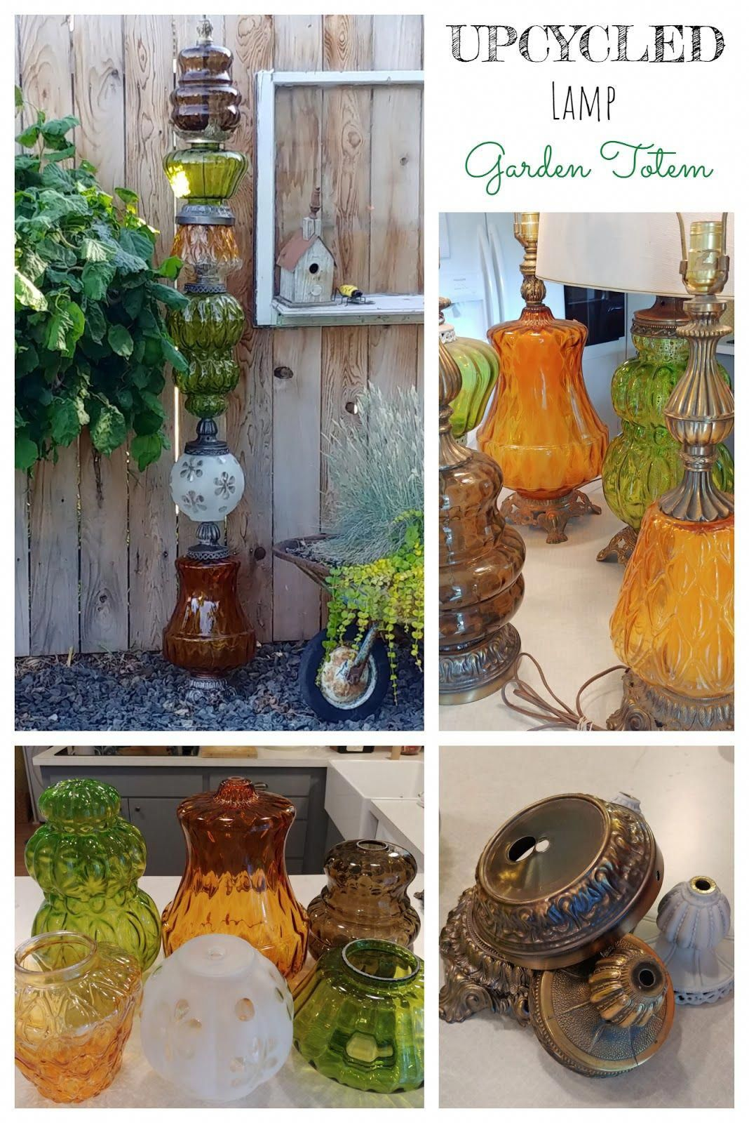 garden art totem pole made from recycled glass lamp globes #gardendecor