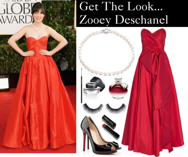 """""""Get The Look, Zooey Deschanel"""" by boutonjewellery ❤ liked on Polyvore"""