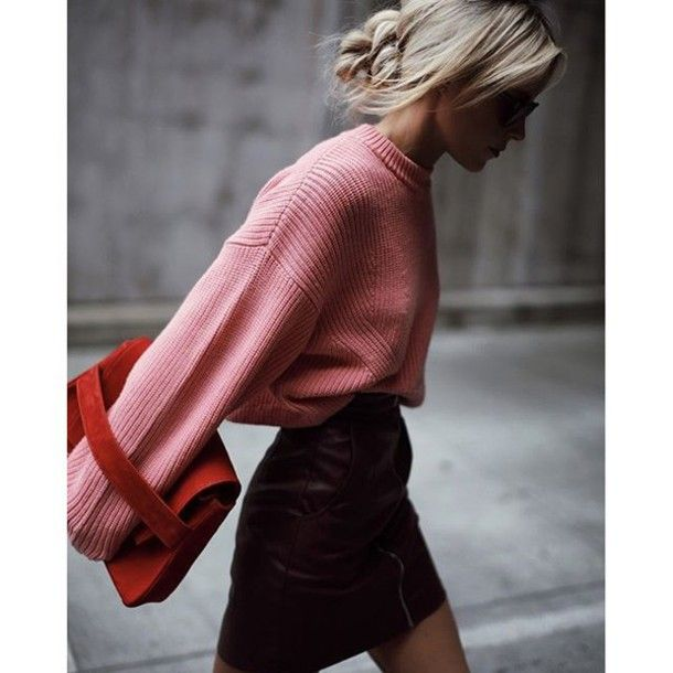Sweater: tumblr pink oversized oversized mini skirt leather skirt ...