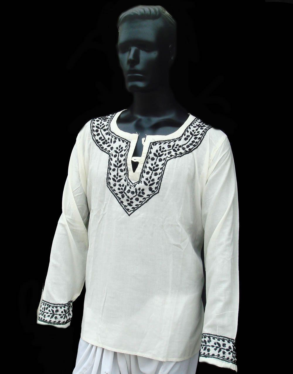2XL Mens dress IVORY Kurta Shirt Tunic Top Cotton Plus