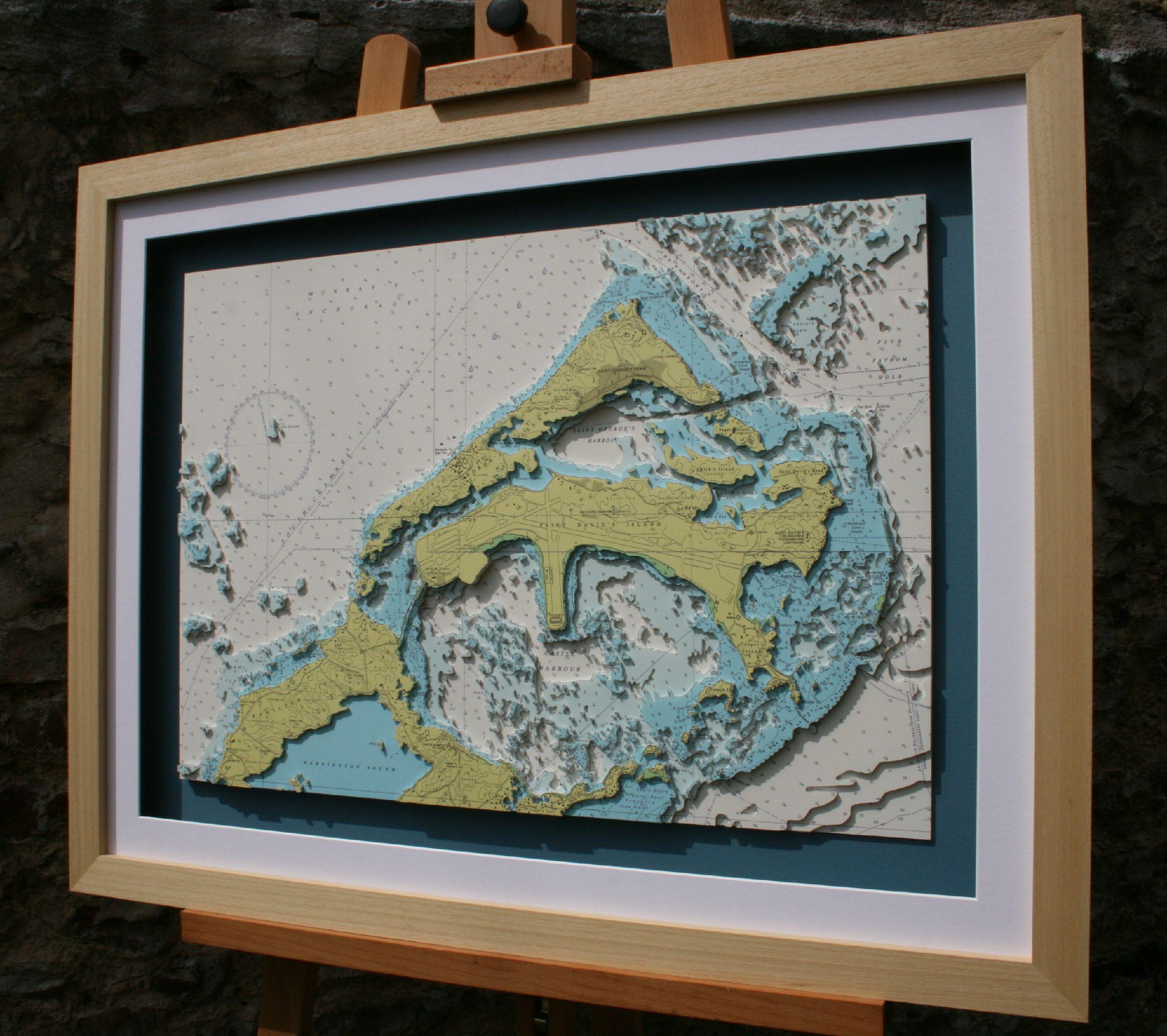 Framed hand cut 3d nautical map of bermuda made from original