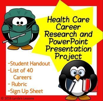 Health Care Career Research \ PowerPoint Presentation Project \/w - create a sign in sheet