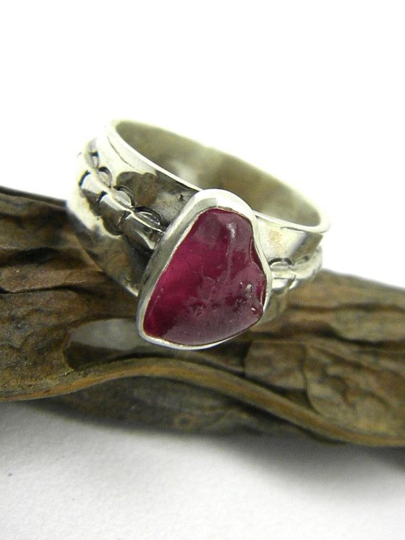 Ruby ring sterling silver abstract rough ruby pink raw stone gemstone ring size 8, July birthstone artisan jewelry