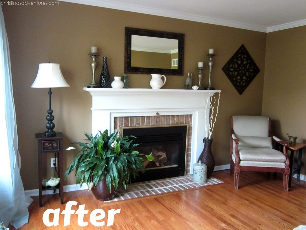 Living Room Makeover! {tan, White, Blue
