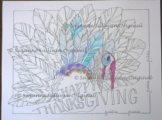 Turkey Coloring Page, Happy Turkey, Adult Coloring, Coloring Book ...