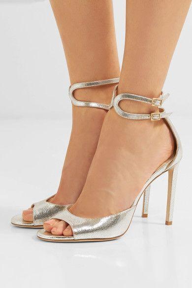 Jimmy Choo - Lane 100 metallic cracked-leather sandals