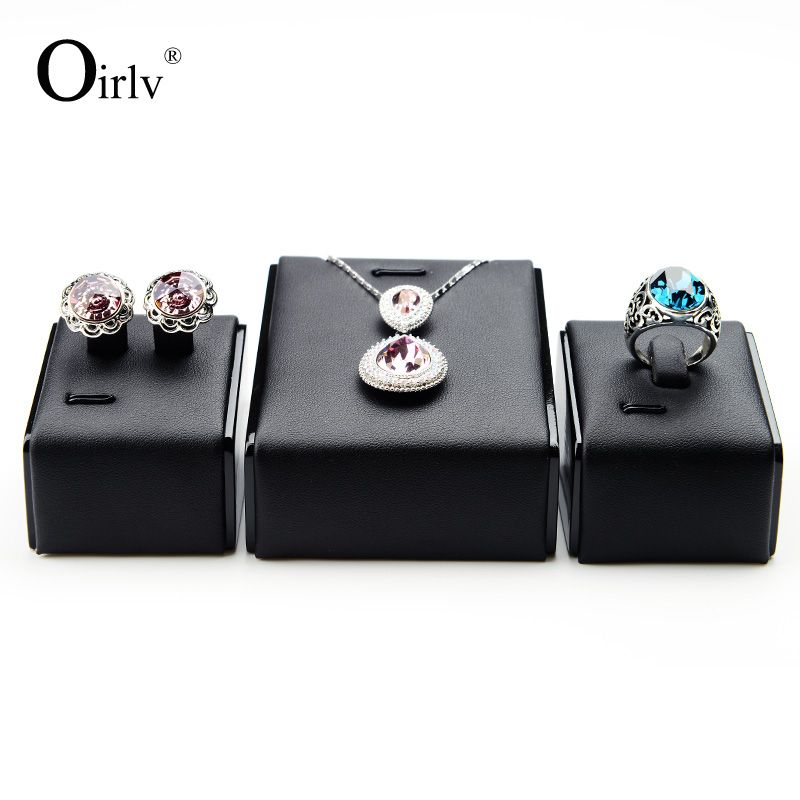 Oirlv Free Shipping Fashion Upmarket Black PU Leather Jewellery Stand Tilt Prop Wood Lacquer Necklace Earrings Ring Holder