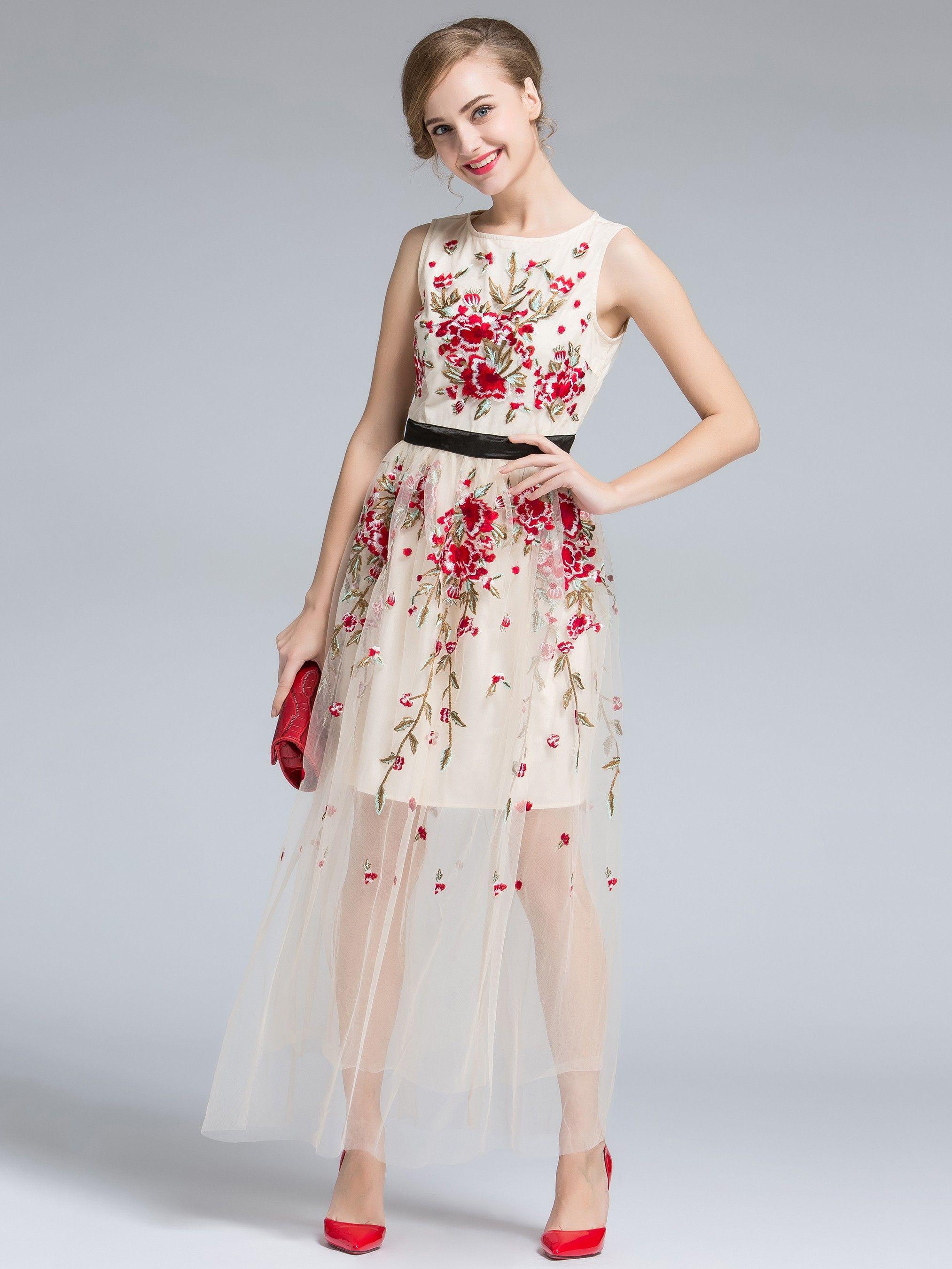 992994966042c4 NapSwan- Apricot Resort Silk Embroidery Sleeveless See-Through Maxi Dress -  NapSwan