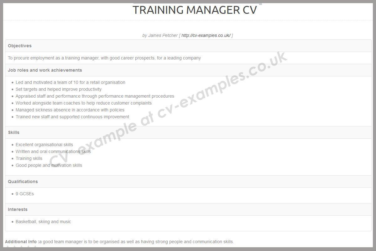 Cvexamplescouk cv example list for human resources