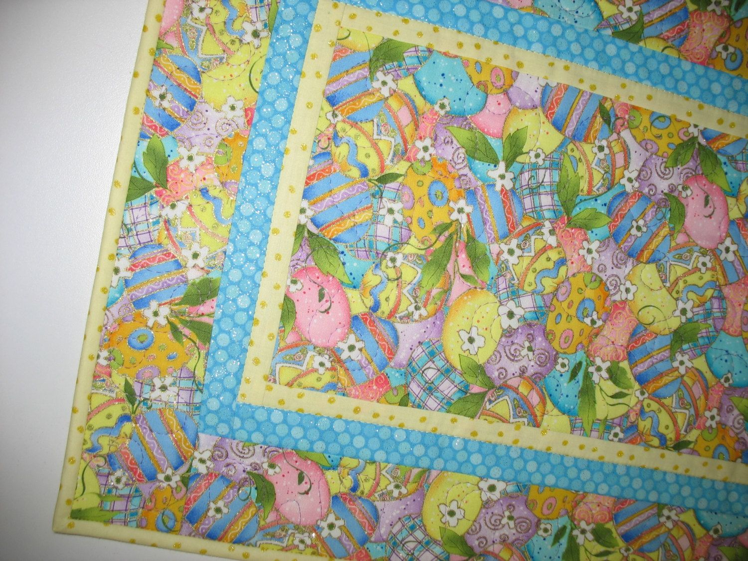 Easter Table Runner with lovely Easter Eggs outlined with metallic by PicketFenceFabric on Etsy