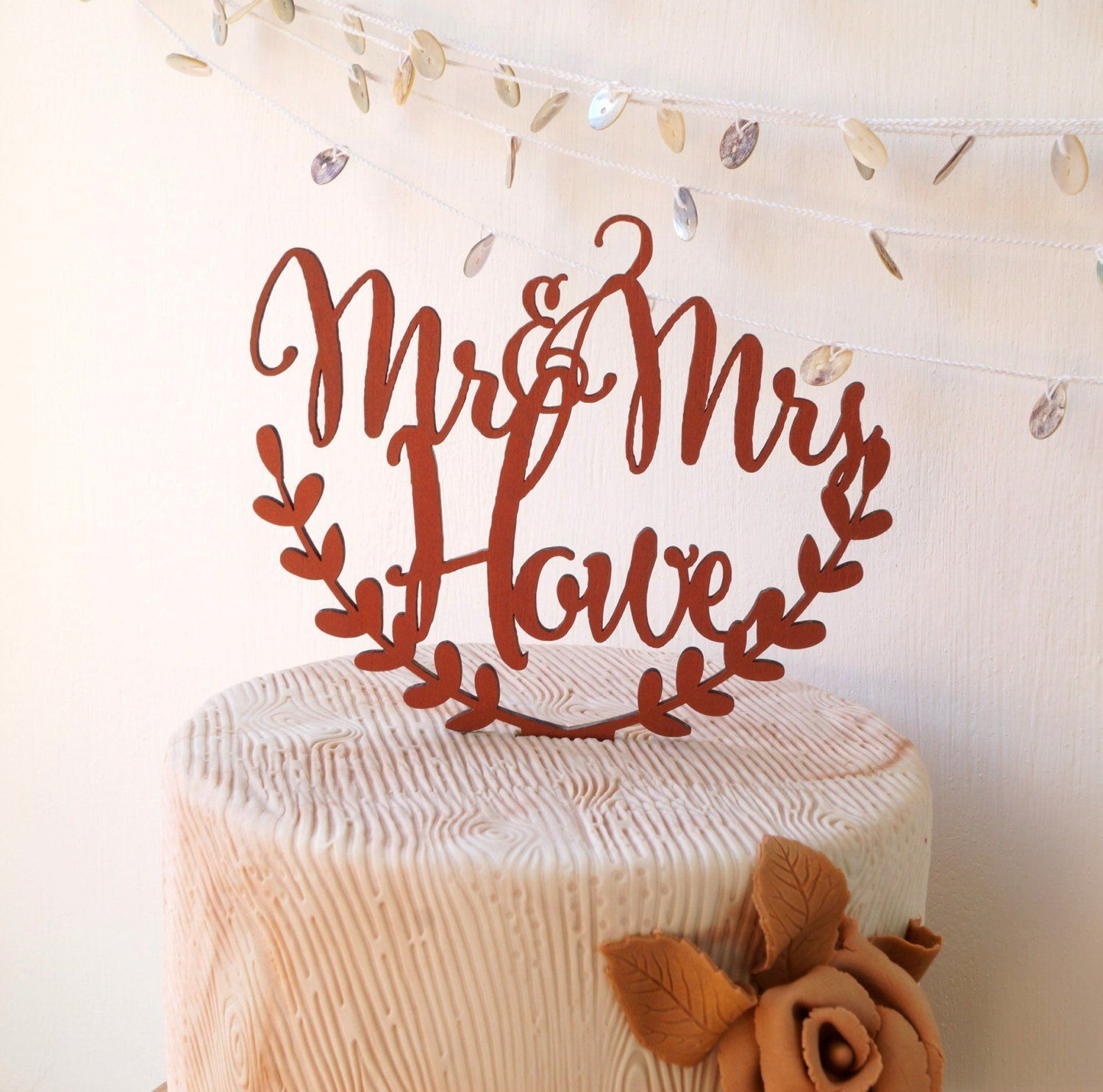 Personalized cake topper wedding cake topper rustic wedding cake