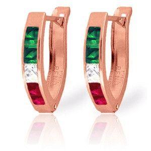14K Solid Rose Gold Tri Gem Oval Hoop Earrings - 3512-R
