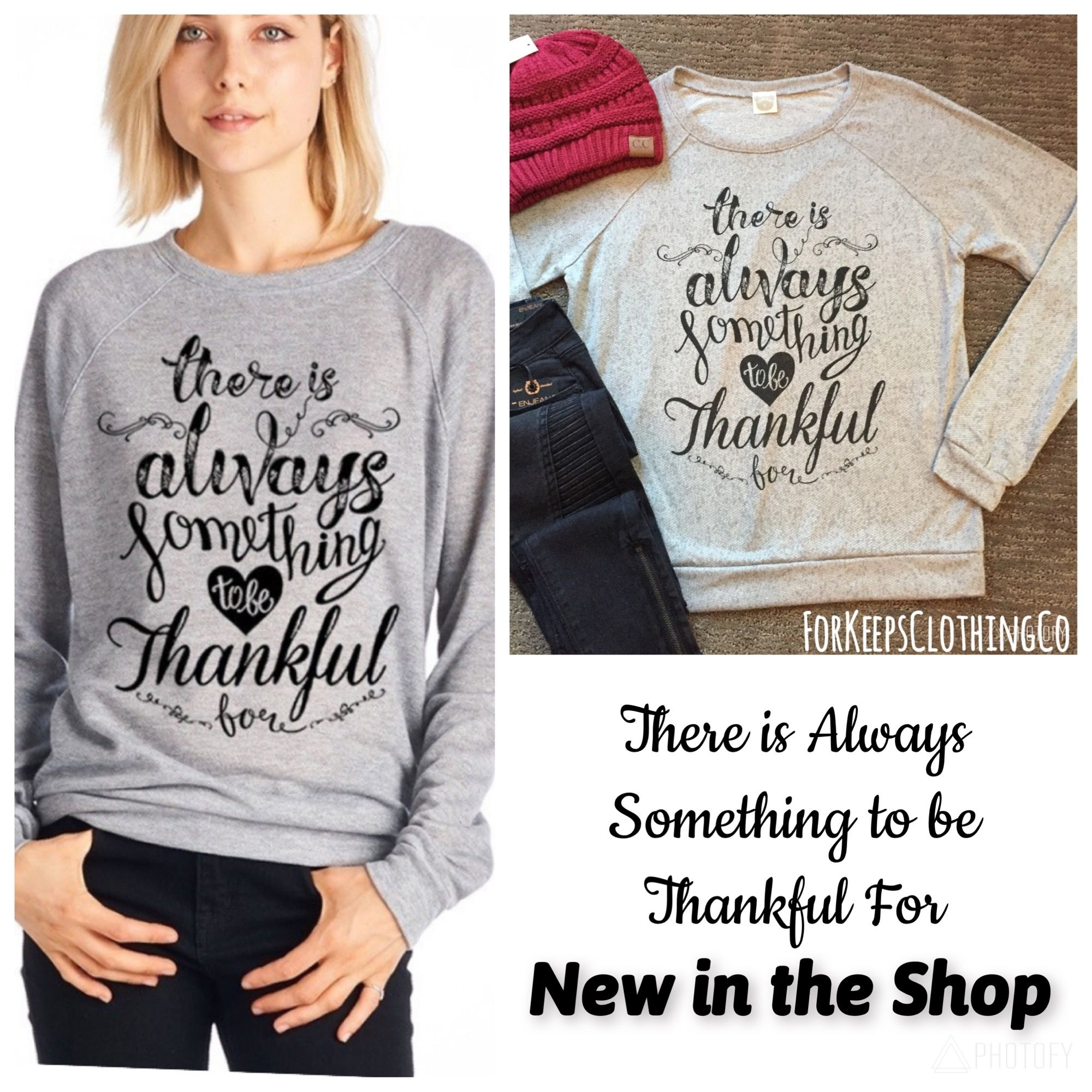 This is SOOO SOFT and SOOO COZY!! And perfect for the upcoming holidays, or just any casual day. THERE IS ALWAYS SOMETHING TO BE THANKFUL FOR!!!    Size Small fits 0-4    Size Medium fits 4-8    Size Large fits 8-12... just dependent on how loose and comfy you want it. Super cute cut though!!    $43 with FREE SHIPPING in the 🇺🇸     International rates will apply. | Shop this product here: http://spreesy.com/Forkeepsclothingco/279 | Shop all of our products at…