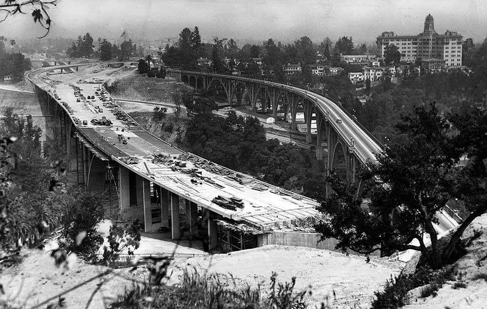 (1953)^* A new bridge, now the Ventura Freeway, is